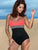 Halter Color Block One-piece Swimwear