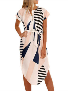 V Neck Short Sleeve Geometric Print Belt Casual Loose Midi Dress