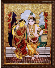 Load image into Gallery viewer, RADHE KRISHNA RED TANJORE PAINTING