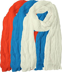 Plain Cotton for Women's Combo (Pack-3)  Scarfs and Shawls
