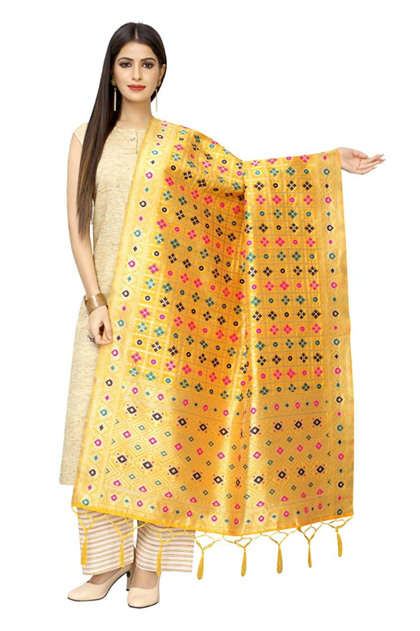 Rangoli Women'S Hand Woven Work Indian Ethnic Silk Scarf and Shawls
