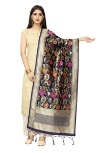 Women'S Hand Woven Work Indian Ethnic Banarasi Silk Scarf and Shawls