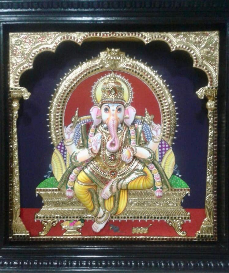GANESHA TANJORE PAINTING- Another Shade (6)
