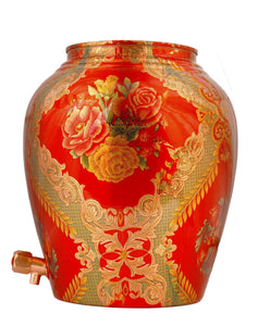 Copper designer coral red water pot