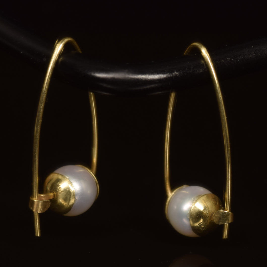 14K yellow gold round white  freshwater pearl Polly hoops