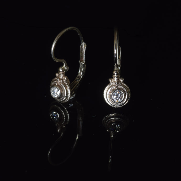 14K white gold 3mm French hook diamond earrings 0.20 carat total weight