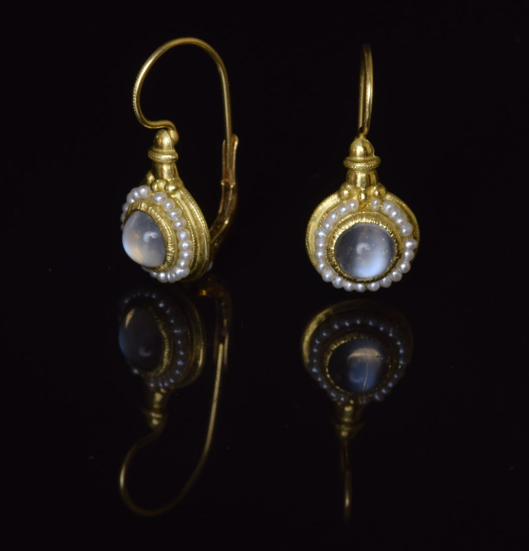 18K yellow gold 6 1/2 mm moonstone cabochon French hook earrings with seed pearls