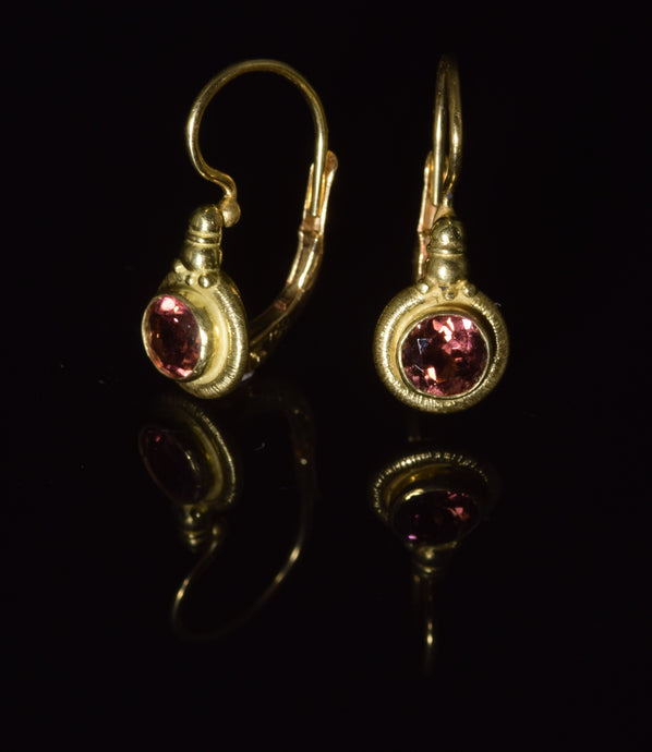 18K yellow gold 4 1/2 mm faceted Pink Tourmaline French hook earrings