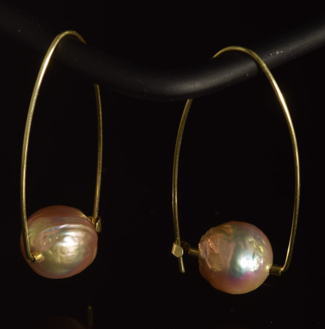 14K yellow gold round pink large round baroque freshwater pearl Polly hoops