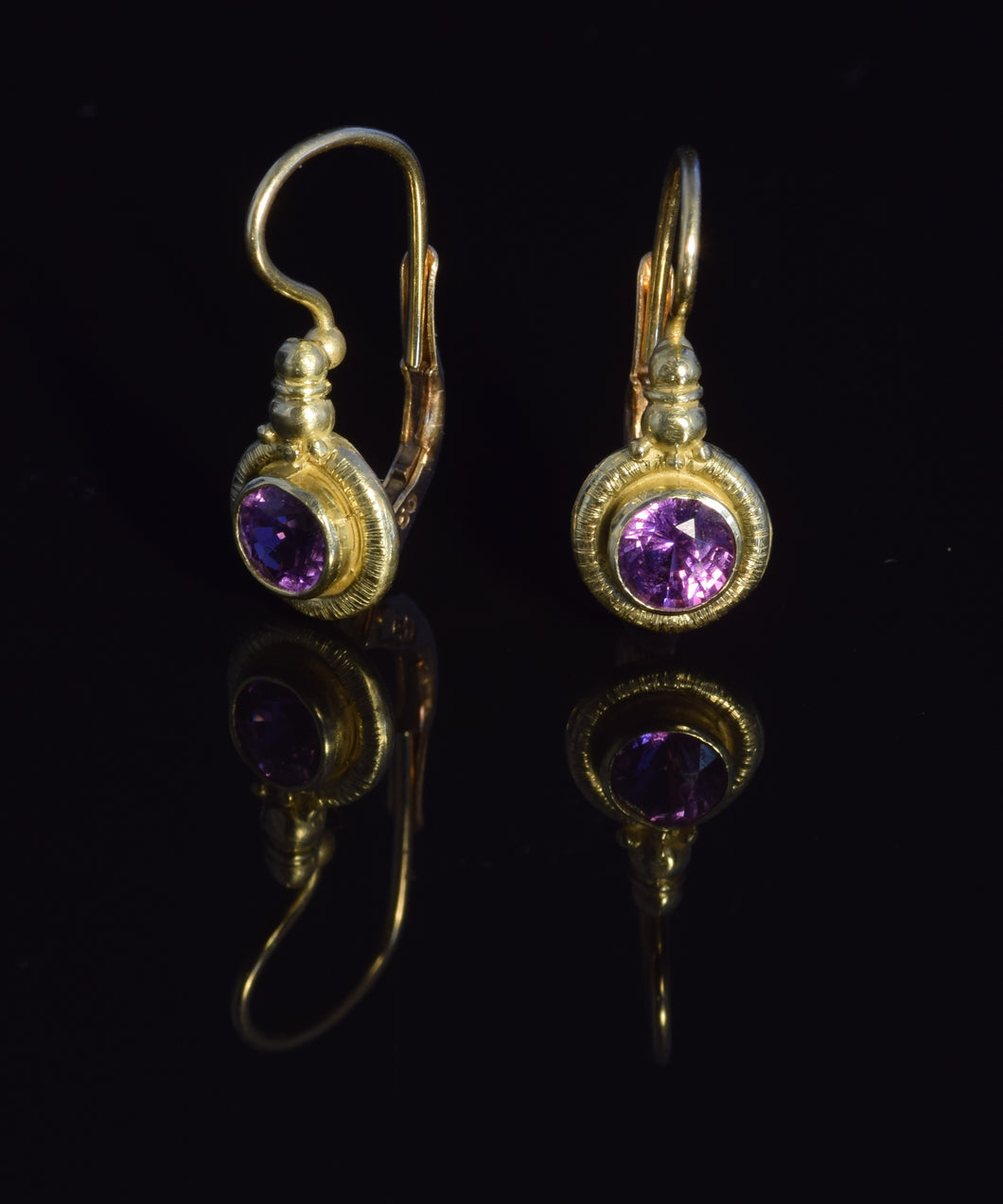 18K yellow gold 4 1/2 mm faceted purple sapphire French hook earrings