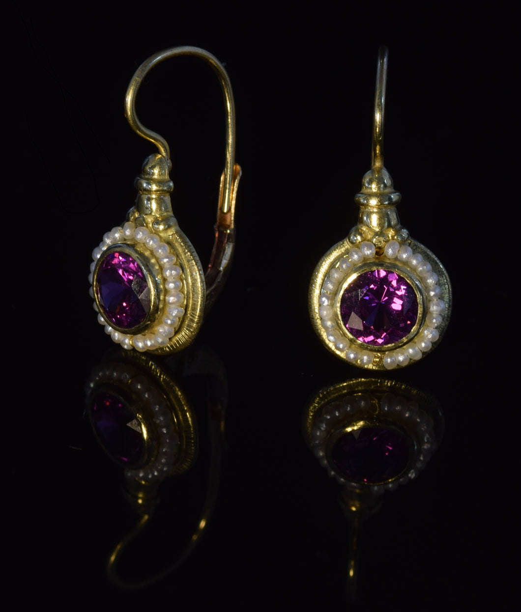 18K yellow gold 6 1/2 mm faceted rhodolite garnet French hook earrings with seed pearls