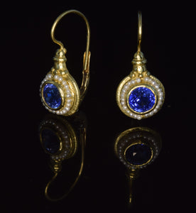 18K yellow gold 6 1/2 mm faceted sapphire French hook earrings with seed pearls
