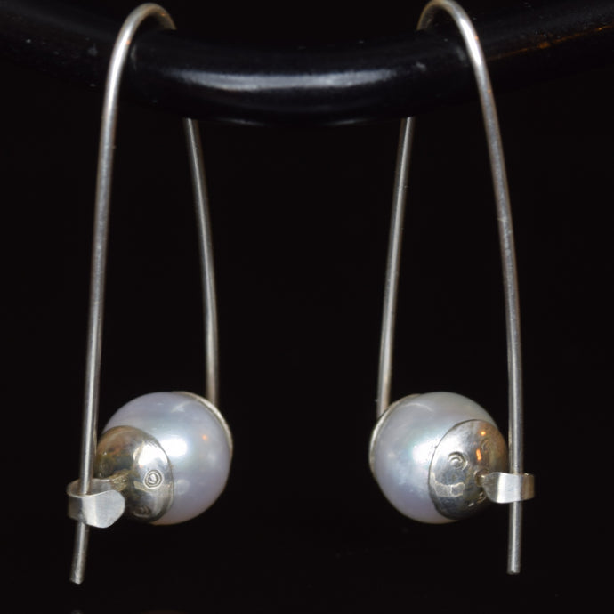 Sterling silver Polly Hoops with round white freshwater pearl