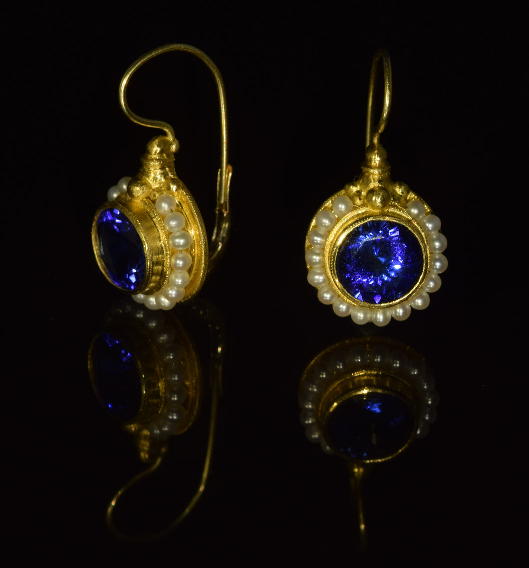 22K and 18K 9mm Tanzanite seed pearl French hook earrings