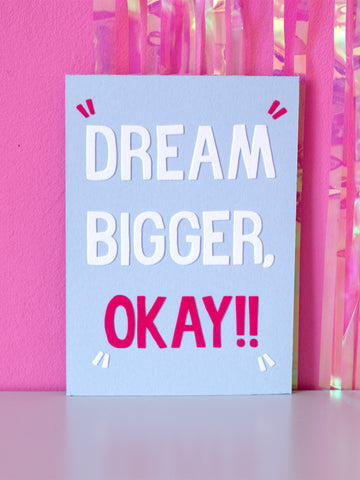 dream bigger okay flock wall art