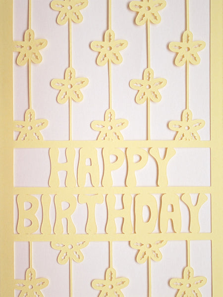 floral papercut birthday card