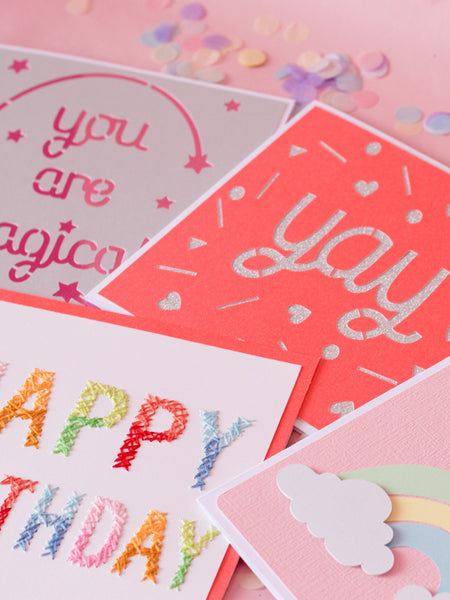 happy birthday hand stitched greeting card