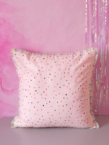 pastel fringe cushion cover