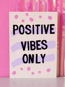positive vibes only flock wall art