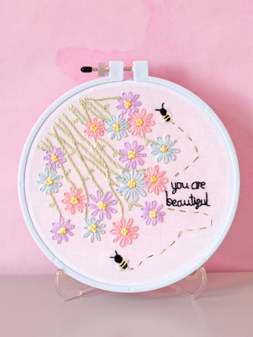 you are beautiful embroidery hoop art