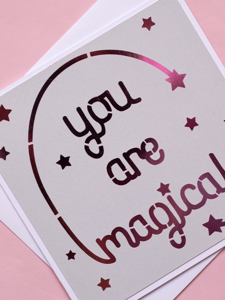 you are magical papercut greeting card
