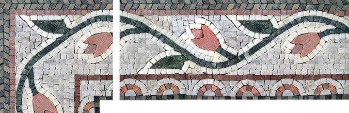 Floral Corner Mosaic With A Pink Flower And Green Leaves