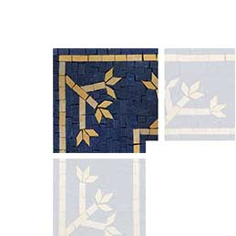 Simple Floral Mosaic Corner - Gold Flowers In Midnight Blue