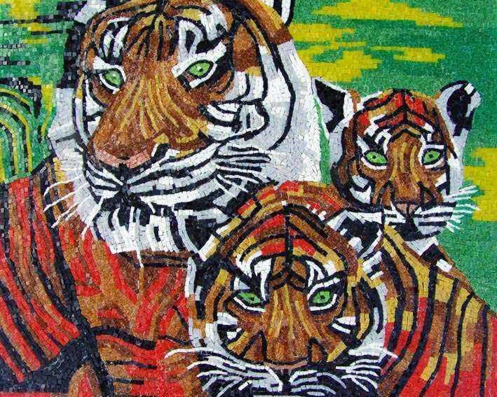 Glass Mosaic Art - Tigers and Cub