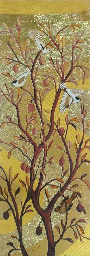 Mosaic Mural - Gold Tree with Birds