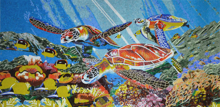 Vibrant Sea Turtles and Fish Glass Mosaic Mural