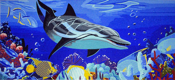 Glass Mosaic Art - Dolphin Jump
