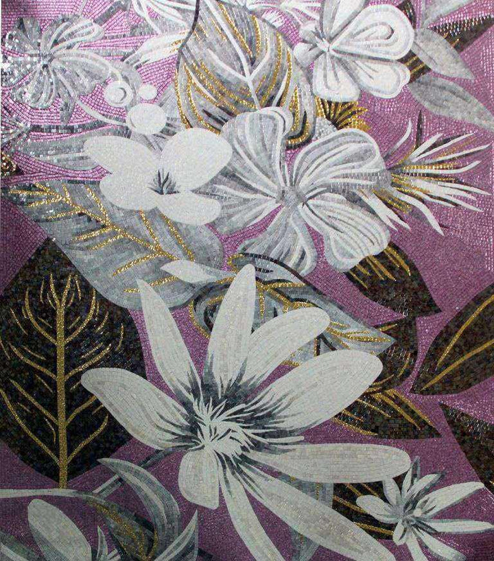 Mosaic Artwork - Abstract White Flowers
