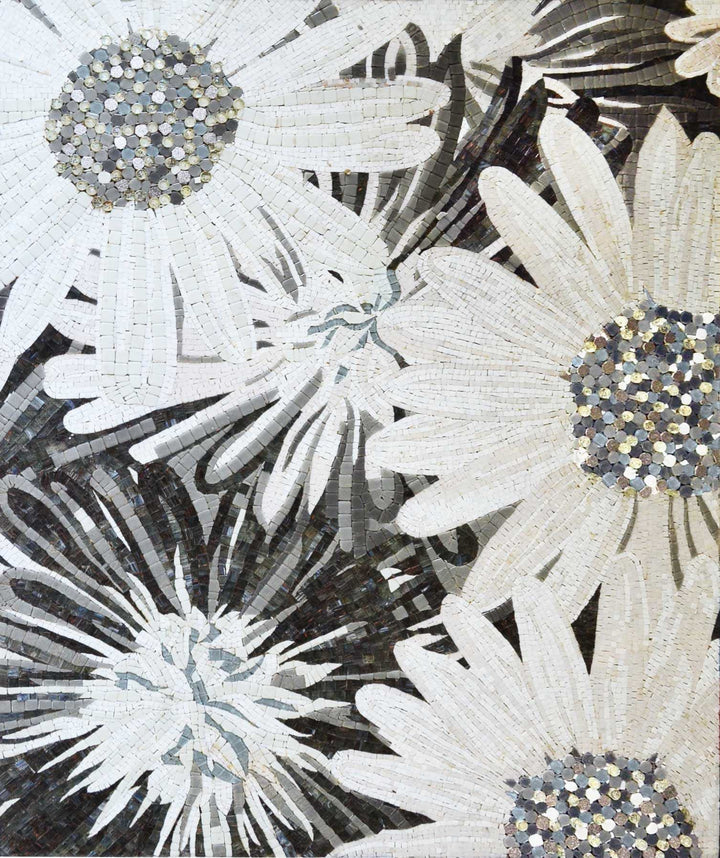 Mosaic Art For Sale - Monochrome Daisy