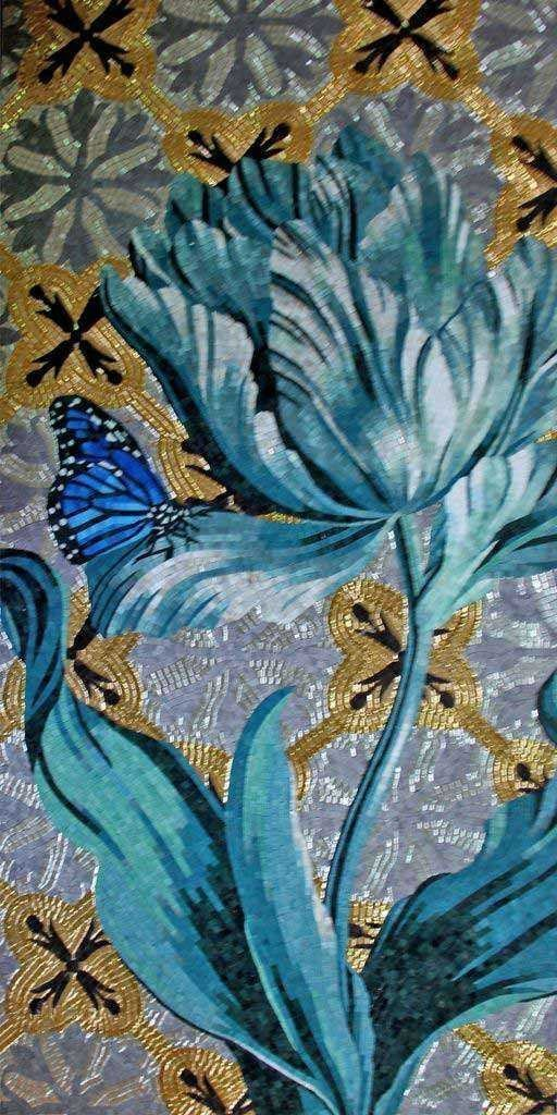Mosaic Tile Art - Blue Lagoon Flower