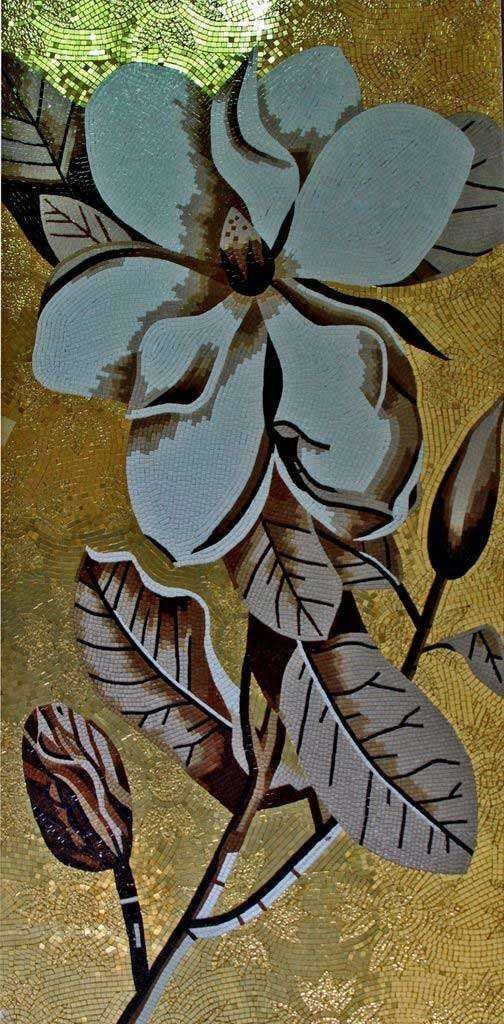 Mosaic Floral Art - Flower In Gray