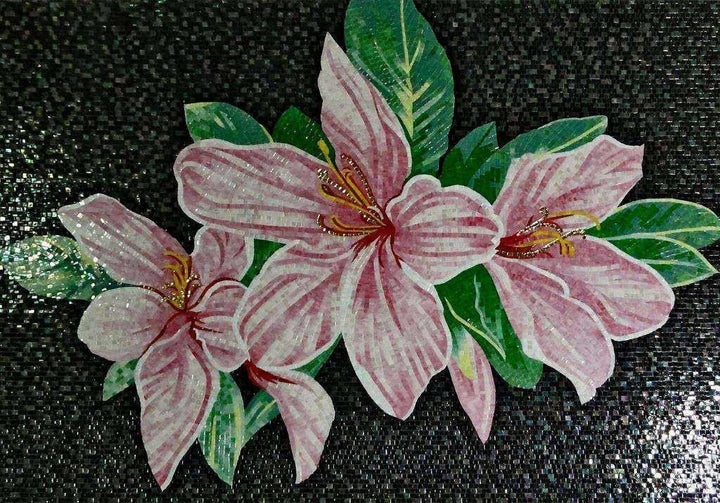 Glass Mosaic Mural - Three Pink Anemones