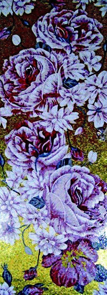 Outdoor Mosaic Tiles - Purple Flowers