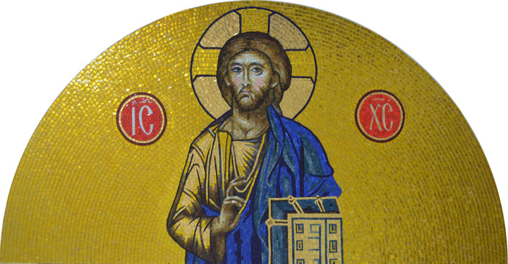 Jesus & Bible - Arched Religous Glass Mosaic