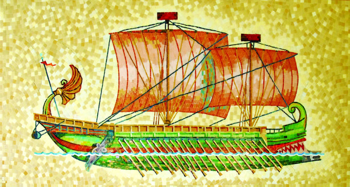 Phoenician Ship Glass Mosaic