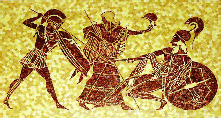 Warriors In A Fight Mosaic