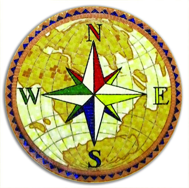 Multi Directional Compass Glass Mosaic