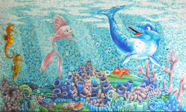 Sea Creatures Mosaic Art