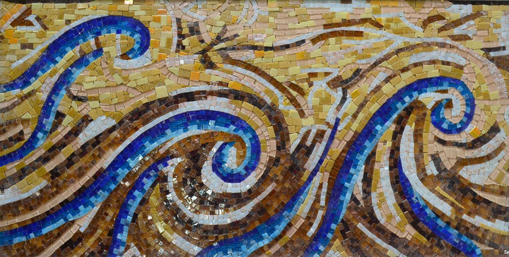 Abstract Bathroom Backsplash Waves Mosaic