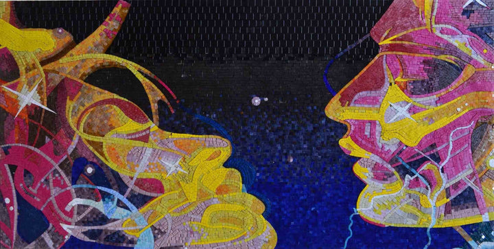 Visionary Glass Mosaic Art - Cosmic Soulmates