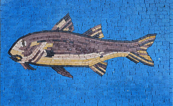 Brown Fish In Blue - Fish Mosaic Art