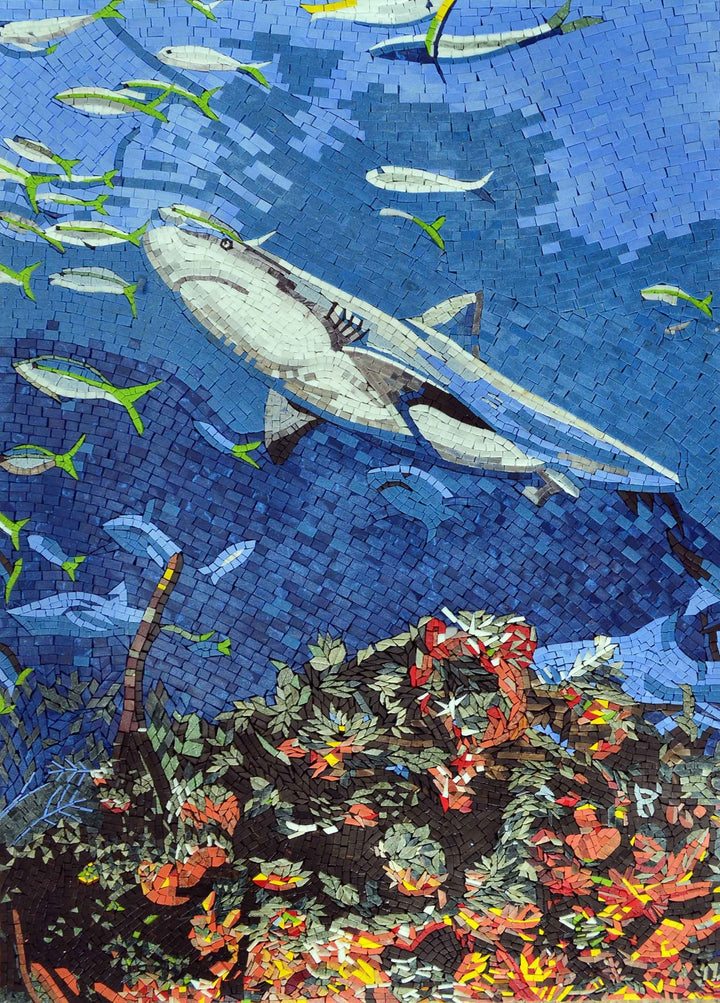 Shark in the Ocean Nautical Marble Mosaic