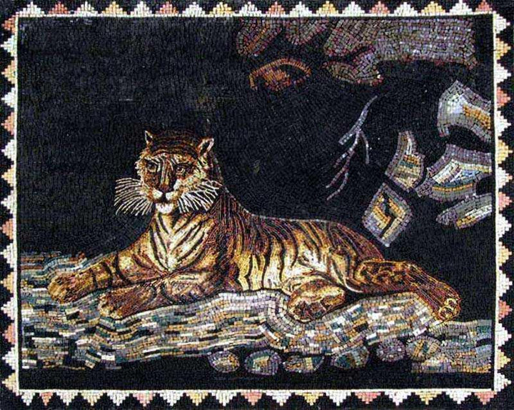 Marble Mosaic - Laying Tiger