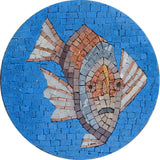 Clown Fish In Blue Medallion - Mosaic Art