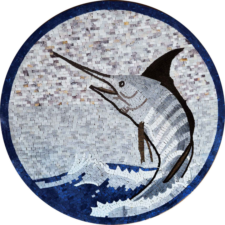 Sword Fish Mosaic Marble Medallion