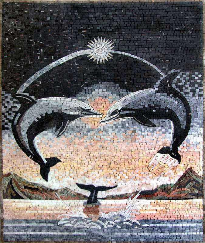 Dolphins in Moonlight Mosaics Art